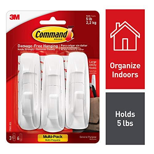 Command Utility Hooks, 3 hooks, 6 strips, Indoor Use, Organize Damage-Free (17003-3ES)
