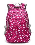 Back to School Backpacks For Girls Kids Primary School Bags Bookbag (Rose Red)