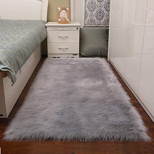 TopSpitgo Faux Lammfell Schaffell Teppich Grau (90 X 60 cm) Long-Hair in Super weich Lammfellimitat Matten | Wohnzimmer Schlafzimmer Kinderzimmer | Als Faux Bett-Vorleger oder Matte für Stuhl Sofa