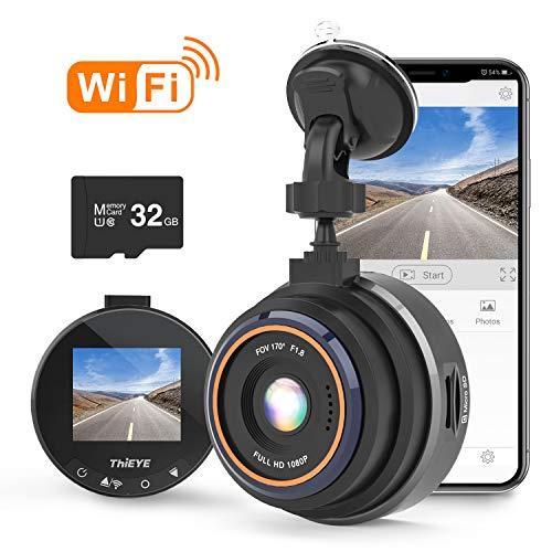 ThiEYE Dashcam WiFi Auto Kamera 1080P Full HD mit 32G-Kart für Fahrzeuge...