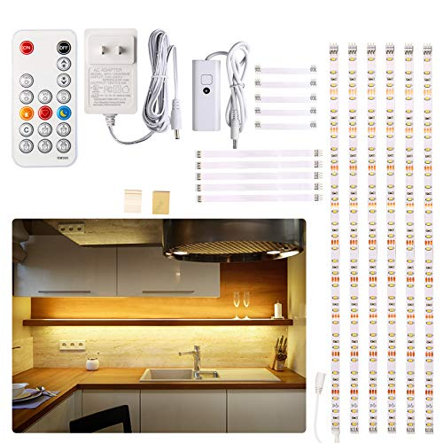 Under Cabinet LED Lighting kit, 6 PCS LED Strip Lights with Remote Control Dimmer and Adapter, Dimmable for Kitchen...