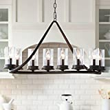Heritage Bronze Large Linear Island Pendant Chandelier 44' Wide Modern Rustic Clear Glass Cylinder Shades 10-Light Fixture for Kitchen Island Dining Room - Franklin Iron Works
