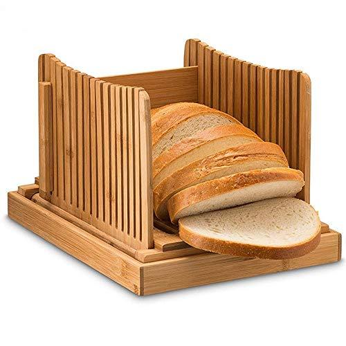 Powstro Affettatrice per pane in bamb, guida pieghevole per affettare il pane con guida per il taglio in 3 misure, tagliere compatto per toast con vassoio raccogli briciole, per panini con bagel