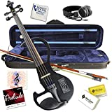 Electric Violin Bunnel Edge Outfit 4/4 Full Size (BLACK)- Carrying Case and Accessories Included - Headphone Jack - Highest Quality with Piezo ceramic pick-up By Kennedy Violins