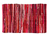 100% Cotton Rag Rug 24x36 - Multicolor Chindi Rug - Hand Woven & Reversible for Living Room Kitchen Entryway Rug - Red