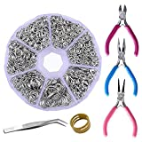 Supla Jewelry Making findings Beading Suppliers Open Jump Rings 4mm 5mm 6mm 7mm 8mm 10mm 21 Gauge and 19 Gauge,Lobster Claw Clasp 12 x 7mm and Round Nose Pliers, Flat Nose Pliers, Side-Cutting Pliers