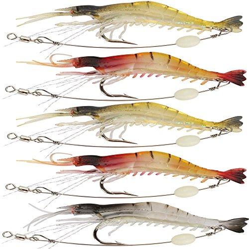 Guadagnare il richiamo di pesca dell'esca di esca dell'animale molle artificiale del gambero di 5pcs / Lot l'esca molle di pesca dell'esca con il gancio di pesca del gancio