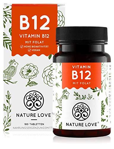 NATURE LOVE® Vitamin B12 Vegan - Vergleichssieger 2020* - 180 Tabletten. Beide aktive Formen Adenosyl- & Methylcobalamin + Depot + Folat 5-MTHF aus Quatrefolic® - Hochdosiert, deutsche Produktion