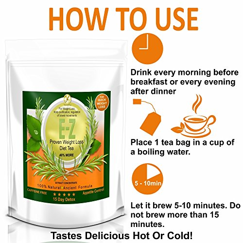 E-Z Detox Tea for Weight Loss and Belly Fat - Appetite Control - Body Cleanse – Detox 3 Pack 4