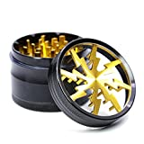 4 Piece 2.5' Aluminum Lightning Pattern Clear Top Grinder (Gold)