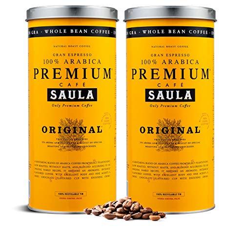Café en grano Saula, Pack 2 botes de 500 gr. Premium Original 100% arábica