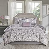 Madison Park Sateen Cotton Comforter Set-Traditional Luxe Design All Season Lightweight Bedding, Shams, Bedskirt, Decorative Pillows, King(104'x92'), Gabby, Paisley Lavender/Grey 7 Piece