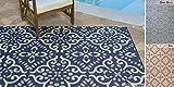 Gertmenian Outdoor Rug Tropical Collection Nautical Exterior Patio Deck Carpet, 6x9 Medium, Navy Blue Floral Medallion