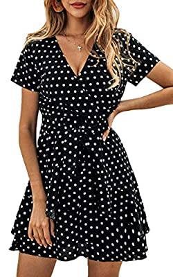 Material:100% Cotton. Features:Short Sleeve, Polka Dot, Deep V Neck, Casual Summer Dress with a Belt. Bring you a cool summer! Occasions: Great for Spring, Summer, Fall, Daily Casual, Date, Party, Beach, Vacation, Wedding, At Home. Stylish Fashion de...