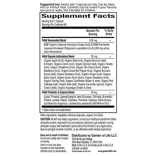 Garden of Life Heart Resveratrol Supplement - Raw Whole Food Antioxidant Formula for Heart Health, 60 Capsules 9