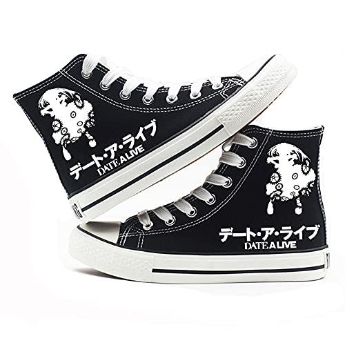 NXMRN Date A Live Zapatos De Retales con Estampado De Dibujos Animados De Anime, Zapatillas De Lona con Tacón Fuerte, Alpargatas Planas-43