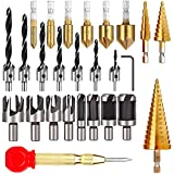 LAMPTOP 26-Pack Woodworking Chamfer Drilling Tools Including 6 Countersink Drill Bits, 7 Three Pointed Countersink Drill Bit with L-Wrench, 8 Wood Plug Cutter, 3 Step Drill Bit, and Automatic