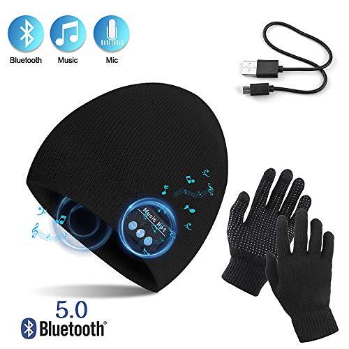 TAGVO Gorro Bluetooth V5.0 con Conjunto de Guantes con Pantalla...