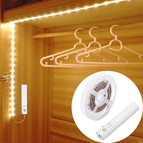 1M 30LED Luce LED da guardaroba con sensore di movimento,Striscia LED sensore di movimento,LUXJET sensori di movimento Luce notturna a LED,3000k bianco caldo per armadi