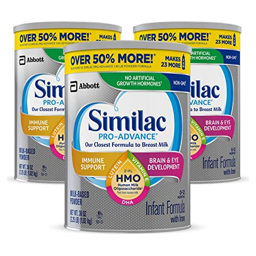Similac Pro-Advance Non-GMO Infant Formula with Iron, with 2-FL HMO, for Immune Support, Baby Formula, Powder, 36 Oz, Pack of 3 (One-Month Supply)