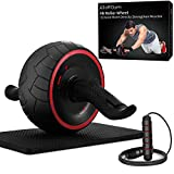 Ab Roller for Abs Exercise Workout Fitness -Ab Wheel Roller with Knee Mat and Jump Rope -Perfect Home Gym Equipment for Men Women Abdominal Exercise