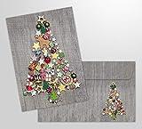 10 tarjetas de Navidad 'Árbol de Navidad colorido' con sobres - 10 piezas tarjetas plegables nostálgicas para Navidad en un juego con sobres