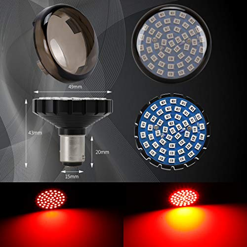 SUPAREE 2' Red LED Turn Signals & Brake Light with 1157 Insert Kit for Harley Davidson Motorcycles- (Rear Turn Signals)