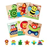 Wooden Toddler Puzzles Toys Gifts, AwesomeCube 6 Pack Animal Shape Jigsaw Puzzles for Child Kids Preschool Learning Educational Toys for for 1 2 3 Year Old Boys Girls