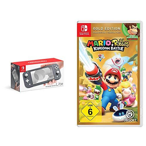 Nintendo Switch Lite, Standard, Grau + Super Mario 3D World - Bowser's Fury