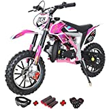 X-PRO Bolt 50cc Dirt Bike Gas Dirt Bike Kids Dirt Bikes Pit Bikes Youth Dirt Pitbike with Gloves, Goggle and Handgrip,Pink