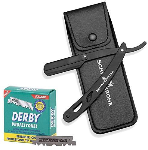 Schwertkrone Rasiermesser Schwarz + 100 halbe Derby Wechselklingen + Transporttasche   Rasiermesser Set Herren für Einsteiger & Fortgeschrittene (Schwarz)