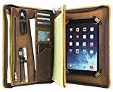 Professional Slim Padfolio Organizer Genuine Leather Compact Portfolio Case with Letter Size (A4) Paper Notepad, Business Carrying Case (9.7' iPad/iPad Pro/iPad Air, Vintage)