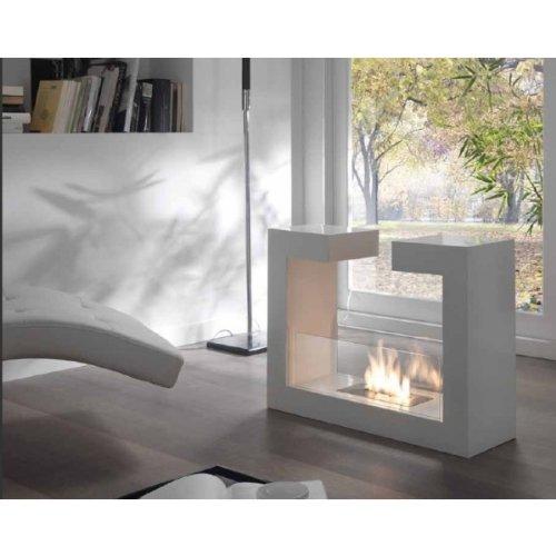 Stones Tete a Tete Fireplace, Bioethanol, White, 78x 25x 58cm