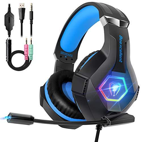 Cascos PS4 con Micrófono Flexible para Xbox One PC PS4 Tableta Laptop, Auriculares con Premium Stereo, Orejeras Acolchadas Ligero Cómodo y Diadema Ajustable, Iluminación RGB
