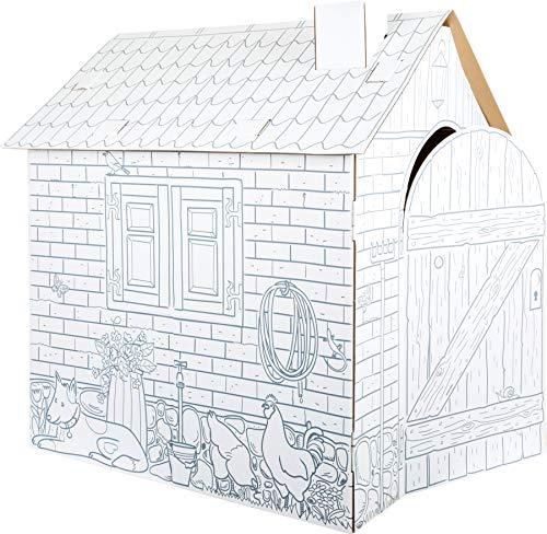 """small foot 10015 Spielhaus \""""Bauernhof\"""" aus Bastelkarton, bemalbar mit Wachs, Filz- und Buntstiften, ab 3 Jahren"""