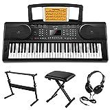 Moukey MEK-200 Electric Keyboard Portable Piano Keyboard Music Kit with Stand, Bench, Headphone, 61 Key Keyboard, Black