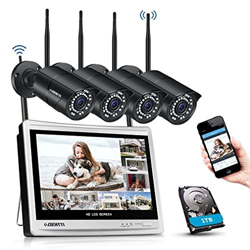 DEATTI Kit Videosorveglianza WiFi, 8CH 3MP Sistema di Videosorveglianza NVR con monitor LCD da 12', 4x3MP Telecamere esterno senza fili, Notifica di Rilevamento del Movimento, Disco Rigido da 1TB