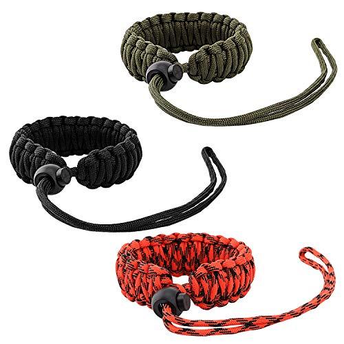 MoKo Universal Paracord [3 Pack], Nylon Braided Adjustable Camera Hand Grip Strap for Video Camcorder, Binoculars and Nikon/Canon/Sony/Minolta/Panasonic/SLR/DSLR Digital Cameras, Black/Red/Army Green