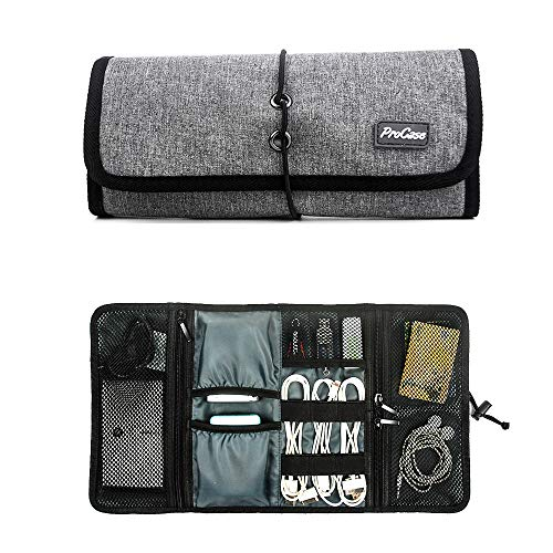 Procase Accessories Bag Organizer, Universal Electronics Travel Gadgets Carrying Case Pouch for Charger USB Cables SD Memory Cards Earphone Flash Hard Drive -Grey