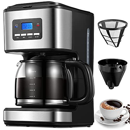 Cafetière Filtre, 1.8 Litres Machine à Café, Programmable 24 Heure, Maintien au Chaud 40 Minutes, Filtre Réutilisable & Système Anti-Goutte, Capacité 12 Tasses, 900W