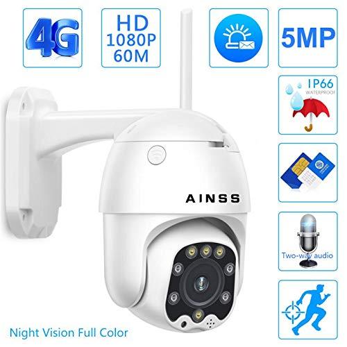 Telecamera IP 1080P CCTV Camera 3G 4G Sim Card Wireless PTZ IP 5MP HD Security Outdoor Surveillance Two Way Audio IR/Visione notturna/IP66 Impermeabile/per Esterni/Garage/Azienda 1080P4GVersion
