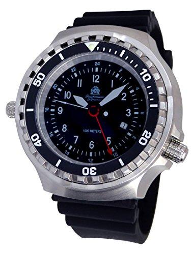 Campione di immersione 52 mm orologio 24 ore. GMT Ronda T0311 - Nastro per immersioni