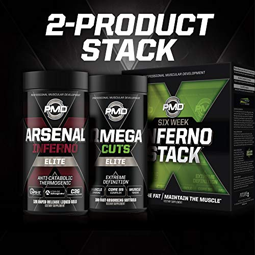 PMD Sports Six Week Inferno Stack - Maximum Strength Fat Burner and CLA Omega Fatty Acid to Lose Fat Fast and Increase Muscle Tone - Arsenal X Inferno/120 Liquid Gels, Omega Cuts Elite/180 Softgels 9