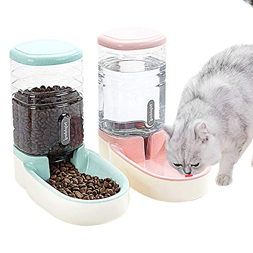 Fairy Tale Automatic Pet Feeder Small&Medium Pets Automatic Food Feeder and Waterer Set 3.8L, Travel Supply Feeder and Water Dispenser for Dogs Cats Pets Animals (Green)