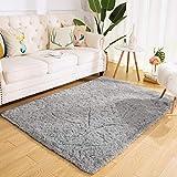 Super Soft Kids Room Nursery Rug 4' x 6' Gray Area Rug for Bedroom Decor Living Room Floor Carpets Fur Mat by VaryCarry