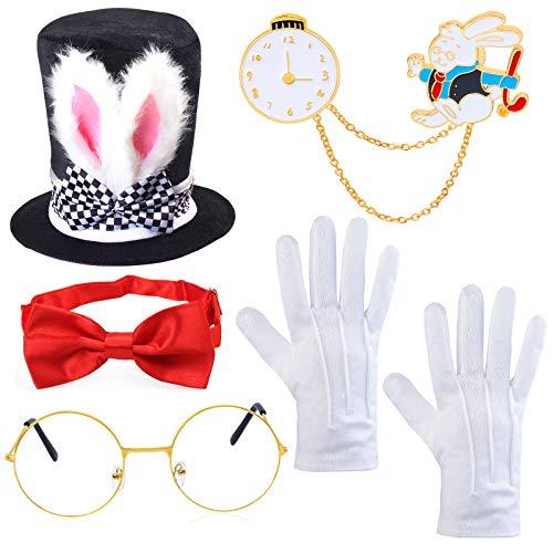 YewongEasterWhiteRabbitCostume-MadHatterCostume-BunnyRabbitsDressUpCostumeAccessory-IncludeRabbitsEarsTopperPlushHatClockGlassesBowtieGloves