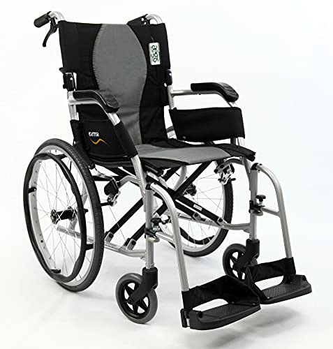 Karman Healthcare 19.8 lbs Ergonomic Ultra Lightweight Wheelchair, Pearl Silver, 18'x17'
