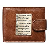Christian Art Gifts Genuine Leather Wallet for Men | Plans For You with Brass Inlay – Jeremiah 29:11 Bible Verse | Quality Classic Leather Brown Bifold Wallet | Christian Gifts for Men