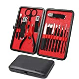 Mens Manicure Set - Mifine 16 In 1 Rubber Plastic Stainless Steel Professional Pedicure Kit Nail Clippers Upgrade Grooming Kit with Black Leather Travel Case Third Generation(Red)