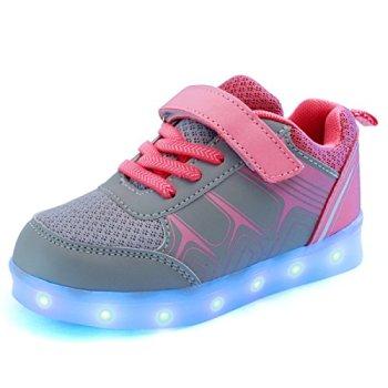 DoGeek Boys Grils Light Up Trainers Kids 7 Colors Unisex Breathable USB Sport LED Light up Shoes (Choose Half Size Up) Pink